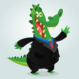 Crocodile, alligator ou dinosaure mignon de bande dessinée portant le costume noir d'homme d'affaires Illustration de vecteur Image stock