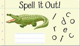 Crocodile anglais de mot de charme illustration de vecteur
