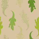 Crocodile animal seamless pattern green beige background illustration. Vector Stock Image