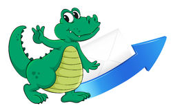 Crocodile, arrow and envelop Royalty Free Stock Images
