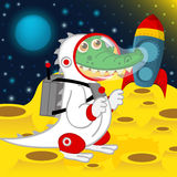 Crocodile astronaut on moon Stock Photography