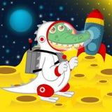 Crocodile astronaut on moon Royalty Free Illustration