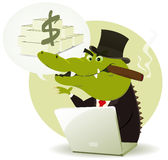 Crocodile Bankster Crook. Illustration of a funny cartoon crocodile crook trader buying and selling and promising lot of money Stock Photos