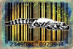 Crocodile barcode animal design art idea. I am a traditional artist. This is digital painting and 3d software compilation. This is my own idea Royalty Free Stock Image
