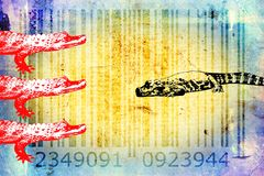 Crocodile barcode animal design art idea Royalty Free Stock Photos
