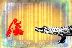 Crocodile barcode animal design art idea Royalty Free Stock Images