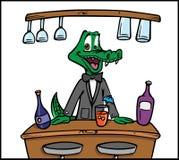 Crocodile bartender. Cartoon illustration of a crocodile bartender Royalty Free Stock Photography