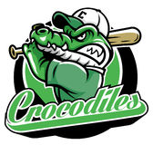 Crocodile baseball mascot Stock Photo