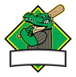 Crocodile baseball player royalty free illustration