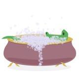 Crocodile in a bathtub Royalty Free Stock Photos