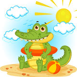 Crocodile on the beach. Vector illustration Royalty Free Stock Images