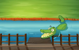 A crocodile and a bench Royalty Free Stock Images