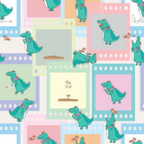 Crocodile bird feather story film seamless. This illustration is drawing crocodile and bird with feather story in movie film decoration and seamless pattern Stock Photo