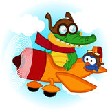 Crocodile bird flying by plane Royalty Free Stock Images