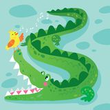 Crocodile and Bird Funny Kid Graphic Illustration. African Reptile Animal Mascot Character on Nature Background. Simple Colorful Alligator in Tropical Wildlife royalty free illustration