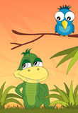 Crocodile and the bird in the jungle, vector Stock Image