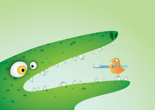 Crocodile And Bird with Toothbrush Royalty Free Stock Photo