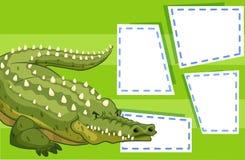A crocodile on blank note. Illustration royalty free illustration