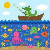 Crocodile  in boat catches fish. Vector illustration, eps Stock Photo