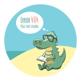 Crocodile With a Book - Error 404 Royalty Free Stock Photography