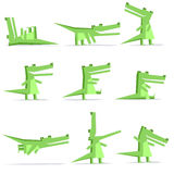 crocodile cartoon flat style in action set Stock Photography