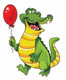 Crocodile cartoon picture funny reptile. Ball air teeth mouth fangs fantastic character vector illustration