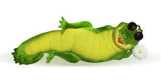 Crocodile cartoon relaxing Royalty Free Stock Images