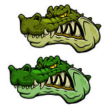 Crocodile character head with bared teeth. Angry crocodile character head with bared teeth and rugged armored green skin, for sporting mascot or tattoo design Royalty Free Stock Image