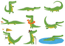 Crocodile character vector set. Cartoon crocodiles characters different green zoo animals. Cute crocodile character doodle animal with bath toy and white teeth vector illustration