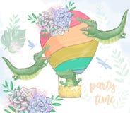 Crocodile chez l'animal mignon numérique de clipart (images graphiques) de panier et les fleurs et le ballon Vol Croc Texte de te illustration de vecteur