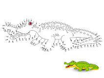 Crocodile Connect the dots and color. Vector Stock Photo