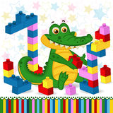 Crocodile construction plastic block. Vector illustration, eps stock illustration