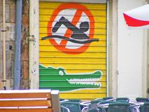 Crocodile danger. A crocodile signe of danger Royalty Free Stock Photos