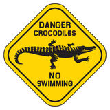 Crocodile danger sign Royalty Free Stock Image