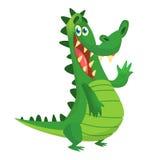 Crocodile de bande dessinée caractère de vecteur d'isolement Concevez pour l'autocollant, la copie ou le livre d'enfants images libres de droits