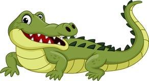 Crocodile de bande dessinée d'isolement sur le fond blanc