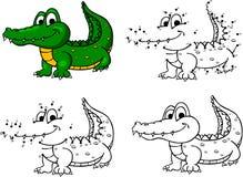 Crocodile de bande dessinée Illustration de vecteur Coloration et point à pointiller Images libres de droits