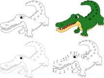 Crocodile de bande dessinée Livre de coloriage et point pour pointiller le jeu pour des enfants Images stock