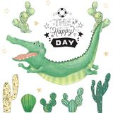 Crocodile digital clip art cute animal and cactus. Flying Croc. Party Time text. Greeting Celebration Birthday Card Funny african. Crocodile digital clip art vector illustration
