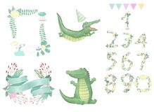 Crocodile digital clip art cute animal and flowers for card, frame and ribbon posters, on white background for. Crocodile digital clip art cute animal drawing Royalty Free Illustration