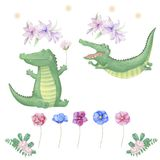 Crocodile digital clip art cute animal and flowers for card, posters, royalty free illustration