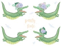 Crocodile digital clip art cute animal and flowers. Flying Croc. Party Time text. Greeting Celebration Birthday Card Funny african stock illustration