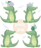 Crocodile digital clip art cute animal and flowers. Party Time text. Greeting Celebration Birthday Card Funny african wildlife Kid vector illustration
