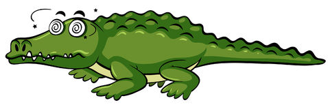 Crocodile with dizzy face Royalty Free Stock Photos