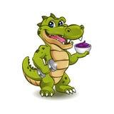 Crocodile drôle avec l'haltère et cuvette de crème glacée  Photographie stock libre de droits