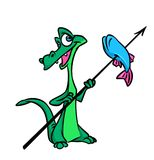 Crocodile fisherman cartoon illustration Royalty Free Stock Photos