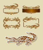 Crocodile Floral Ornament Decoration Royalty Free Stock Image