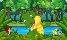 Crocodile in the forest. Illustration of Crocodile in the forest Stock Image