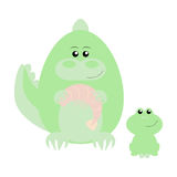 Crocodile and Frog Happy. Funny cartoon happy crocodile and his frog friend Royalty Free Stock Images
