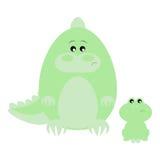 Crocodile and Frog Sad. Funny cartoon sad crocodile and his frog friend Royalty Free Stock Images